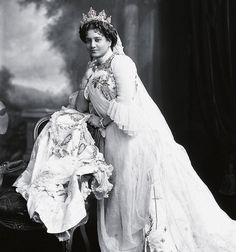 Maharani Suniti Devi of Cooch Behar in a gown of white satin, made by a French dressmaker. Description from pinterest.com. I searched for this on bing.com/images