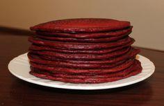 Red Velvet Pancakes recipe available at http://thrivingvegetarian.com/blog/cooking/red-velvet-pancakes/
