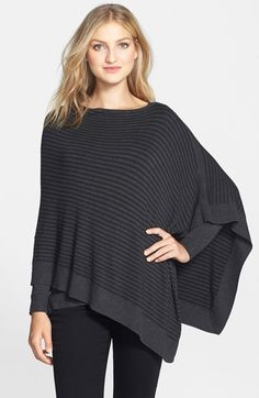 Eileen Fisher Asymmetrical Stripe Poncho (Regular & Petite) available at #Nordstrom