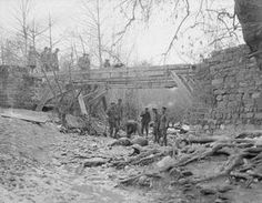 WWI, Jan 1917, Thessaly; Men of the 179th Brig. constructing a bridge. ©IWM