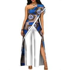 2017 new autumn African jumpsuit for women sexy off shoulder Jumpsuit dashiki clothing batik wax printing pure cotton African Wedding Attire, African Attire, African Wear, African Dress, African Outfits, African Clothes, Pedi Traditional Attire, Traditional Outfits, African Fashion Ankara