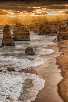 The Twelve Apostles is a collection of limestone stacks off the shore of the Port Campbell National Park, by the Great Ocean Road in Victoria, Australia