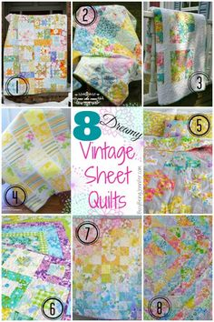 8 Dreamy Vintage Sheet Quilts from BusyBeingJennifer.com - great tips for making vintage sheet quilts