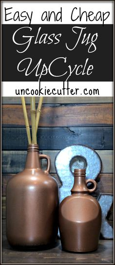 Quick and Easy Glass Jugs Upcycle - How to transform glass jars and jugs with spray paint. from UncookieCutter.com