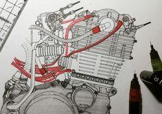 0.1,0.3 ☺🐢💨✒📏📐 . . #yamaha #sr400 #sr500 #fcr #bigsingle #details #engine #vintage #custom #texture #motorcycle #bike #drawing #pencil #pen #penwork #painting #artist #art #ink #black #red #handdrawn #sketch #illustration #craft #rotring #aristo