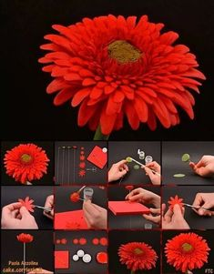 Gerbera Daisy Picture Tutorial Cake decorating tips and tricks Sugar Paste Flowers, Icing Flowers, Fondant Flowers, Clay Flowers, Fondant Bow, Fondant Cakes, Crepe Paper Flowers, Fabric Flowers, Fondant Flower Tutorial