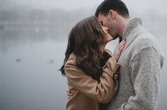 foggy engagement session, winter engagement style, blanket, engagement at the docks, pea coats, knit sweater