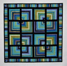 Modern Quilted Wall Hanging Fractured Squares Art Quilt Blue Purple Green Gold Black 25 X25 Quiltsy Handmade