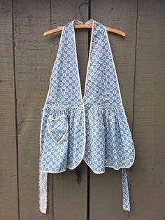 Farm apron vintage full blue print hand made