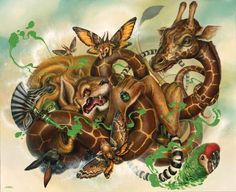 African animals, butterflies and birds get caught in a tangle in this pop surrealist painting by Greg Simkins « « Mayhem & Muse Rabbit Art, Lowbrow Art, Wow Art, Pop Surrealism, African Animals, Whimsical Art, Surreal Art, Art Google, Fantasy Art