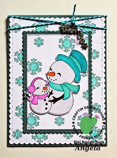 Snowmen Card with Craftin Desert Divas Gingerbread Lane Digital Stamp Set