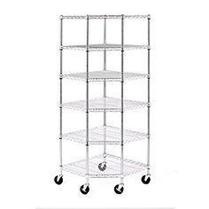 "6-Tier NSF Corner Shelving /w Wheels, 28"" D x 28"" W x 72"" H #Corner Shelving #Furniture & Decor"