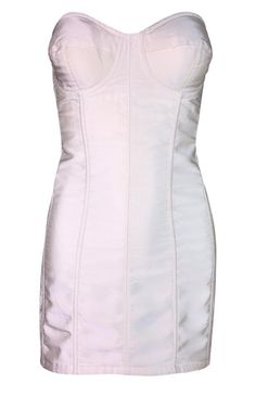 b44e199ae40 S S 1992 Dolce   Gabbana Pin-Up Ivory Silk Strapless Corset Bustier Mini  Dress