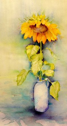 a shy sunflower - watercolor illustration