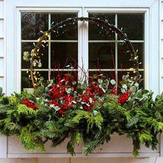 house flower boxes 805581452073547487 - Source by Christmas Window Boxes, Winter Window Boxes, Christmas Planters, Christmas Porch, Outdoor Christmas Decorations, All Things Christmas, Christmas Holidays, Christmas Wreaths, Holiday Decor