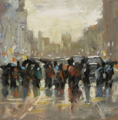 BUILDINGS, CITY, PEOPLE, TOM BROWN CONTEMPORARY URBAN LANDSCAPE, painting by artist Tom Brown