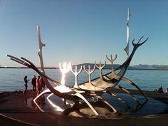 Sólfarið (or Sun Voyager) sculpture in Reykjavik, Iceland