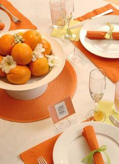 Orange placemats for table decorations