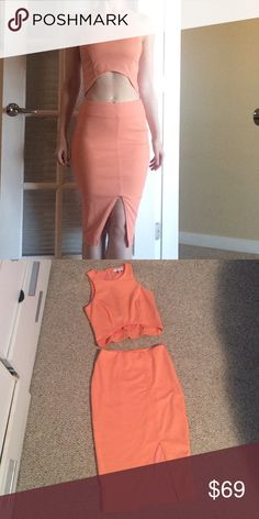 """Revolve Lucy Paris apricot peach crop top set Only worn once, could be mistaken for new. Very stretchy. Size small. Fully lined. For reference I am 5'6"""" 125 Lb. the skirt hits a little below the knee. Both zip in the back. No trades. lucy paris Dresses Midi"""