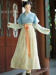 Autumn Yellow Women Hanfu Clothing