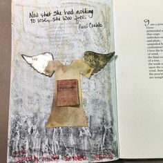 """""""Inspired by Anselm Kiefer and Joe Rotella. Molding paste and pastel on book text with fabric, chipboard and paper. #CJS2016"""""""