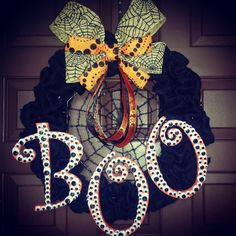 Hey, I found this really awesome Etsy listing at https://www.etsy.com/listing/203521567/halloween-boo-spider-web-wreath