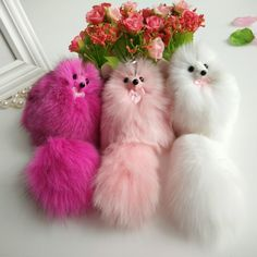 Soft fox fur bag charm key chain fur Adorable animal fox Oversized fox bird Bag pendant Car key ring The best gift