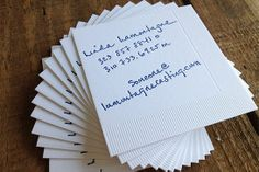 13 Insanely Cool Business Cards #refinery29 http://www.refinery29.com/unique-business-cards#slide6 Why didn't we think of this? A napkin turned business card, courtesy of Sweet Water Press, is surely a talking point at any networking event.