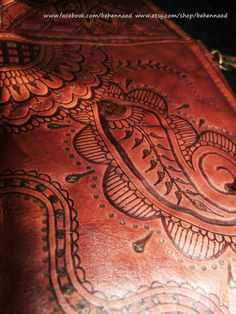 Wilson's leather crossbody bag with pyrographed henna by Behennaed