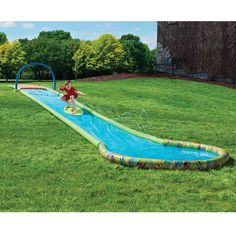 The Only Surfing Water Slide - This is the only backyard waterslide that provides a surfing experience as a rider slides down its 30' length on an included skimboard.