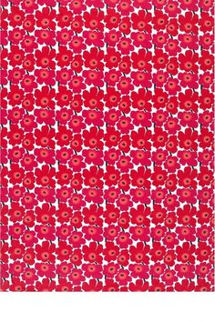 The smaller-scale version of Kristina Isola's iconic Unikko (poppy) print in the classic color combination of red and white. Printed in Helsinki, Finland. Marimekko Fabric, Scandinavian Design, Color Combinations, Poppies, Red And White, Cotton Fabric, Helsinki, Finland, Scale