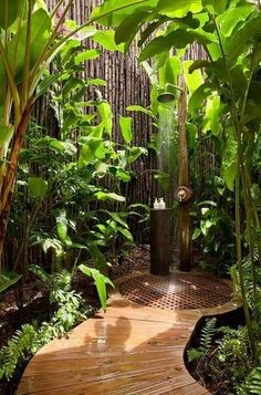 Nice place to shower off after a busy gardening day before going inside.