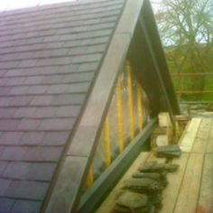 A lead verge was created to finish the roof at the gable end of this extension. Lead Roof, Roofing Services, Gable Roof, The Gables, Extensions, Scotland, Deck, It Is Finished, Outdoor Decor