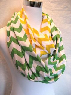 LONG Green and Yellow Chevron colorblock Infinity Scarf - #Baylor