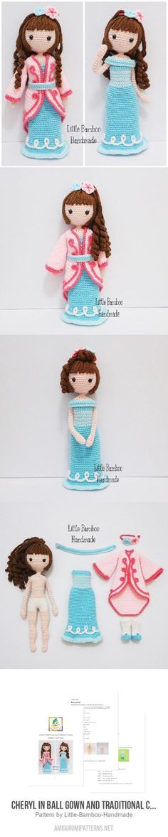 Cheryl In Ball Gown And Traditional Costume Amigurumi Pattern