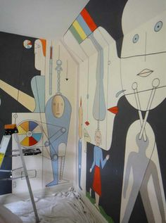 graphic mural, reminds me of le corbusier