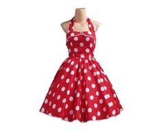 1950s Halterneck Red / Big White Polka Dot Dress TD012 by wanyboon, $68.00
