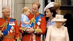 Prince George's first balcony appearance at Trooping the Colour 2015.