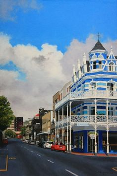 Fine art giclee print of a photorealistic painting called The Blue Lodge, Long Street, Cape Town by the South African artist Peter Meikle. Cape Town Photography, South African Artists, Cape Town South Africa, Lamborghini Cars, Unique Buildings, Background Pictures, Utrecht, Africa Travel, Travelling