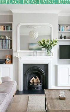 trendy home living room design lounges Living Room Shelves, Living Room With Fireplace, New Living Room, Home And Living, Barn Living, Alcove Storage Living Room, Small Living, Modern Living, Cozy Living