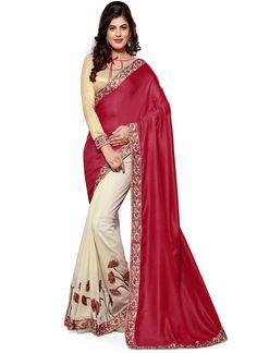 Maroon Cream Jute Cotton Half And Half Saree  #designer sarees #half and half saree #casual saree #party wear sarees #indian sarees #chennai online shopping