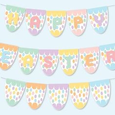 happy easter bunting banner printable pastel by paperscissorspop 400