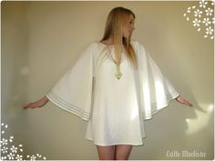 60's Dress  Cream Mini Dress with Bell/Angel by Calle Modista