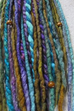 Clip In Blue Green Purple Felted Dreads by tinkertailoruk on Etsy