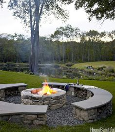 Outdoor firepit by our backyard pool !