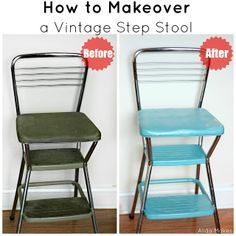 vintage step stool makeover - Love Stitched.  Just bought a similar chair for $10 and this will spruce it up nicely :-)