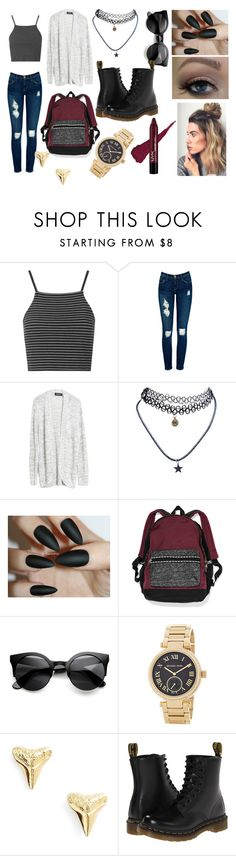 """Back to school"" by megsykes ❤ liked on Polyvore featuring Topshop, Current/Elliott, MINKPINK, Wet Seal, MICHAEL Michael Kors, ki-ele, Dr. Martens, BackToSchool, grunge and CasualChic"