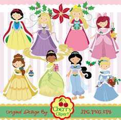 Holiday Princess digital clip art setChristmas by Cherryclipart, $5.00