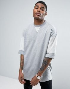 ASOS Oversized T-Shirt In Heavy Weight Fabric With Contrast Sleeve Detail