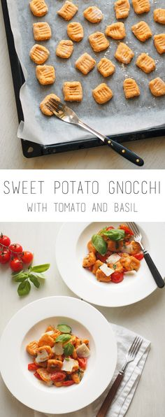Sweet potato gnocchi with tomatoes and basil - a healthy and delicious family dinner